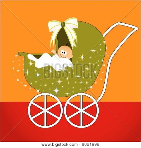 Baby In Stroller Cartoon