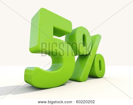 Five percent off. Discount 5%. 3D illustration.