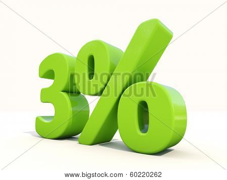 Three percent off. Discount 3%. 3D illustration.