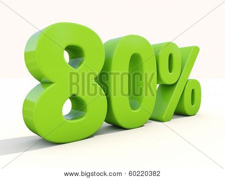Eighty percent off. Discount 80%. 3D illustration.