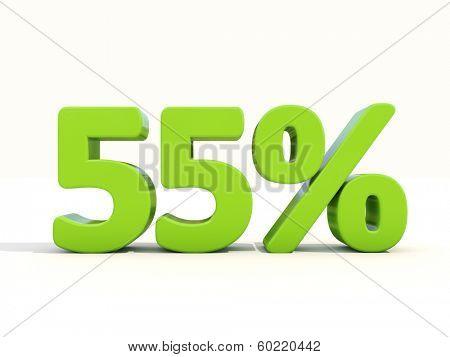 Fifty five percent off. Discount 55%. 3D illustration.