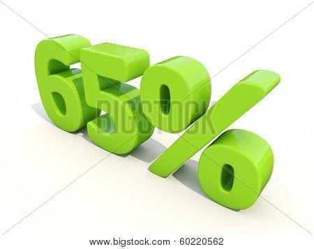 65 percent off. Discount 65%. 3D illustration.