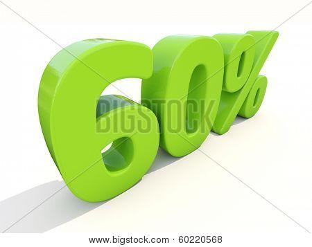 Sixty percent off. Discount 60%. 3D illustration.