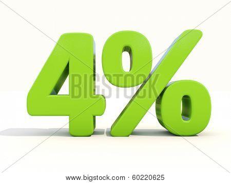 Four percent off. Discount 4%. 3D illustration.