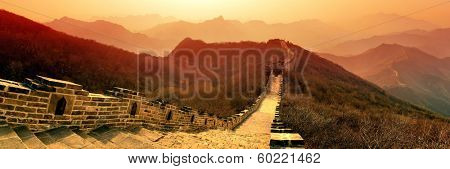 Great Wall panorama in the morning with sunrise and colorful sky in Beijing, China.