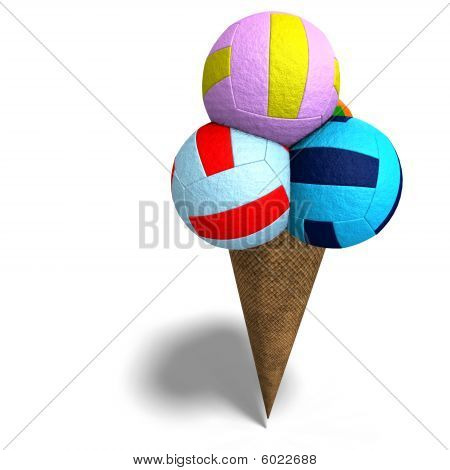 Volleyballs In An Ice Cream Cone