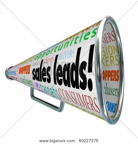Sales Leads Bullhorn Megaphone New Customers Advertising