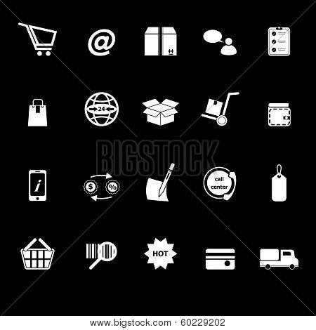 Ecommerce Icons With Reflect On Black Background
