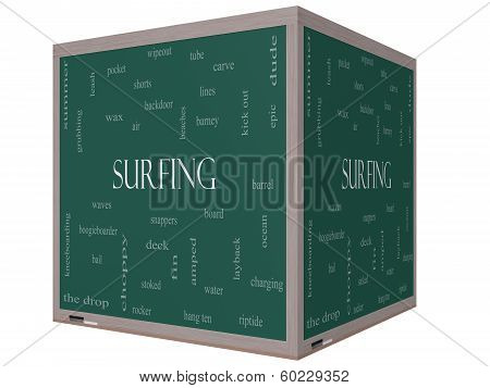 Surfing Word Cloud Concept On A 3D Cube Blackboard