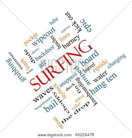 Surfing Word Cloud Concept Angled