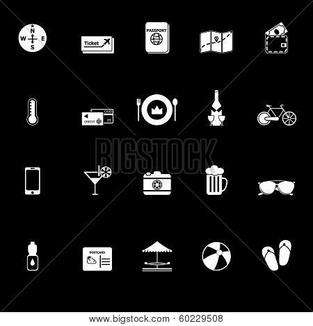 Journey Icons With Reflect On Black Background