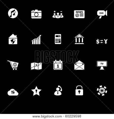 Smart Phone Icons With Reflect On Black Background