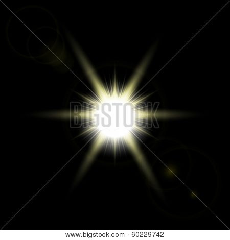 Abstract image of lighting flare. Vector Shining sun. Sun with lens flare, vector background.