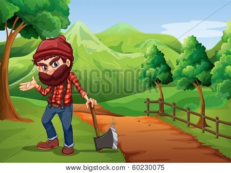 Illustration of a woodman holding an axe at the pathway near the wooden fence