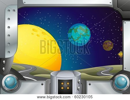 Illustration of a metal frame with a view of the outerspace