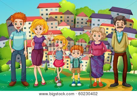 Illustration of a hilltop with a big family