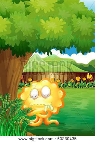 Illustration of a yellow monster under the tree in the gated yard