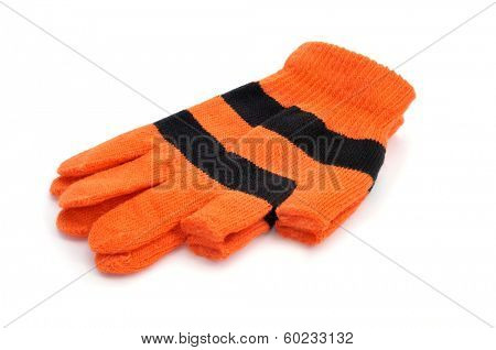 a pair of gloves with open fingertips for thumb and index fingers on a white background