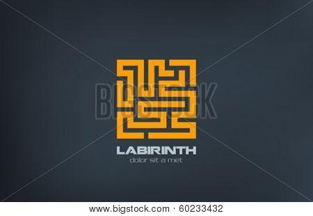 Labyrinth vector logo design template. Puzzle rebus concept. Programming Coding emblem. Maze icon