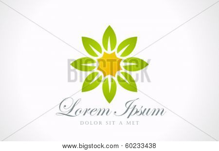 Flower abstract vector logo design template. Garden symbol. Eco concept. Ecology sign. Green icon