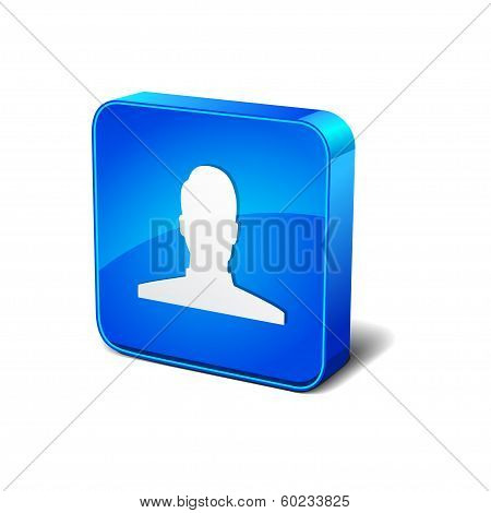 User 3d Rounded Corner Blue Vector Icon Button