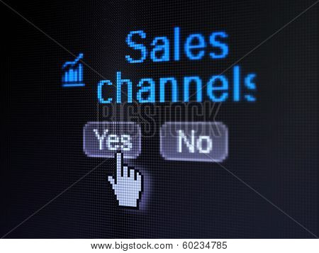 Advertising concept: Growth Graph icon and Sales Channels on digital computer screen