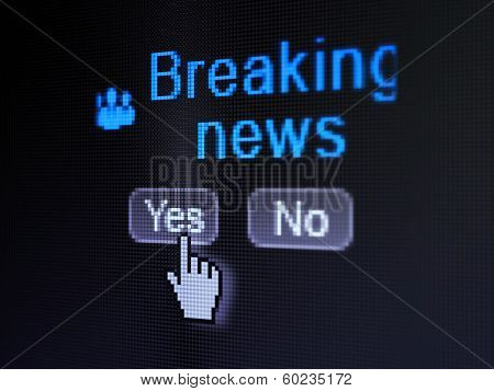 News concept: Business People icon and Breaking News on digital computer screen