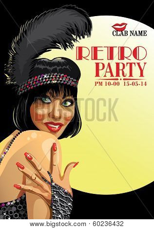 Smiling Girl With Hand.retro Party.design Template