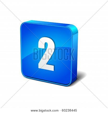 2 Number 3d Rounded Corner Blue Vector Icon Button