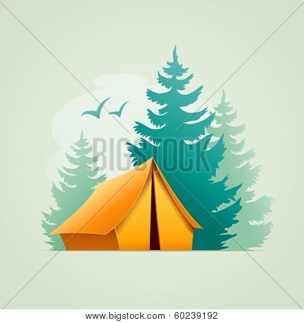 Tent in forest camping. Eps10 vector illustration.
