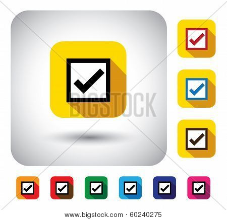 Tick Mark Sign On Button - Flat Design Vector Icon
