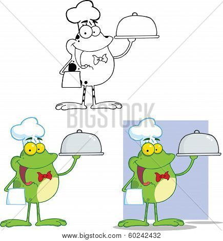 Chef Frog Holding A Cloche Platter Cartoon Character. Set Collection