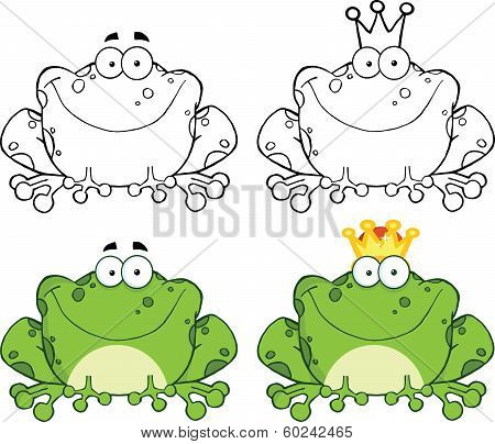 Happy Frog Sitting Cartoon Character. Set Collection