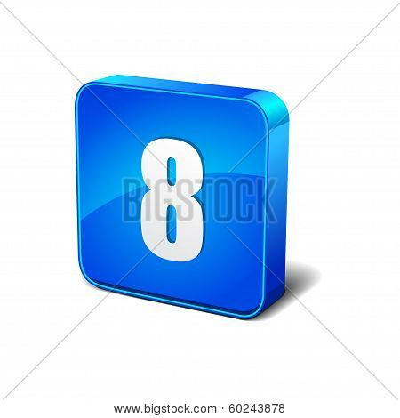 8 Number 3d Rounded Corner Blue Vector Icon Button
