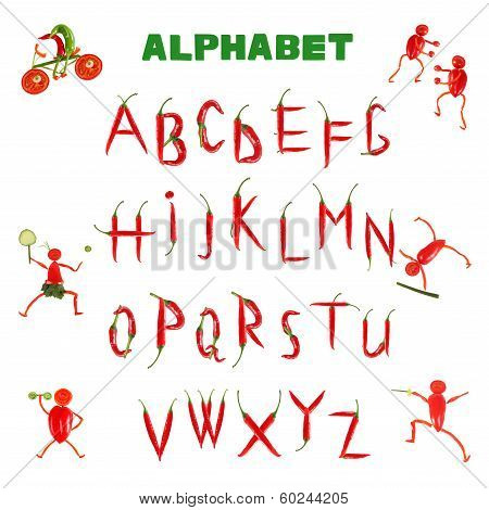 Alphabet Written With Red Chili Peppers