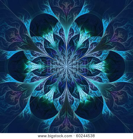 Beautiful Fractal Flower In Blue And Black. Computer Generated Graphics.