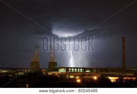Lightning in the night city