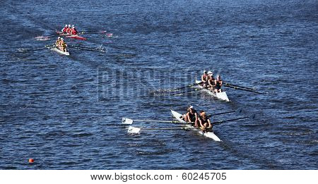 Long Beach Windsor School Twin Cities South Niagra Rowing Club (left to right) race in the Head of C