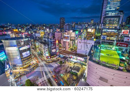TOKYO, JAPAN - JANUARY 10, 2013: Aerial view of Shibuya's famed crossing. The area is a renown youth and fashion district.