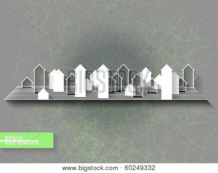 Abstract Origami Background With City Silhouette. Eps10