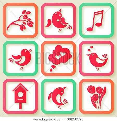 Set Of 9 Spring Icons With Birds And Flowers. Eps10