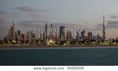 Downtown of Dubai. The view from the beach
