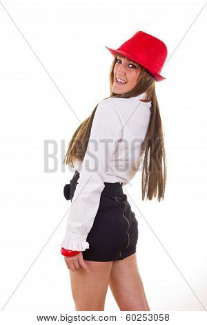 Modern Woman In Skirt And Shirt Wearing Red Hat And Necklace