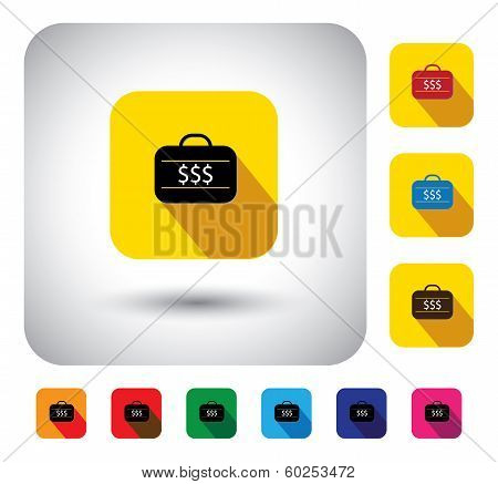 Flat Design Vector Icon - Button With Briefcase With Cash Or Dollar Signs