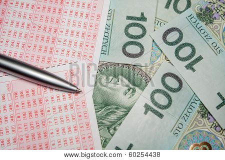 Concept of winning Polish money from lotto