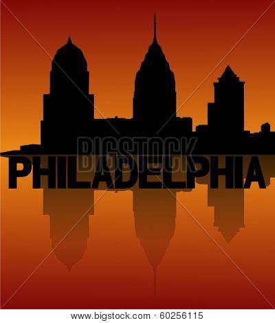 Philadelphia skyline reflected at sunset vector illustration
