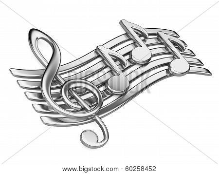 Metallic Musical Notes.