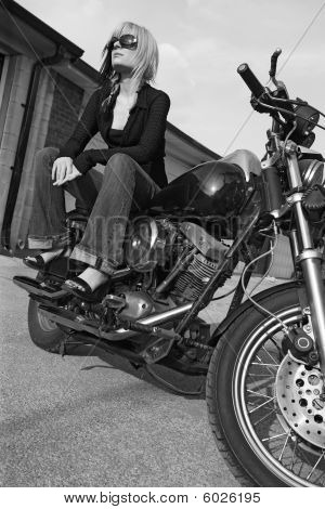 Motorcycle Girl Black And White