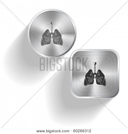 Lungs. Raster set steel buttons