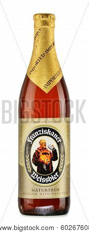 Bottle Of Franziskaner Beer Isolated On White
